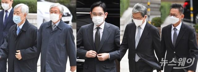 [NW포토]이재용 부회장과 전 삼성 임원진, '국정농단 파기환송심' 출석