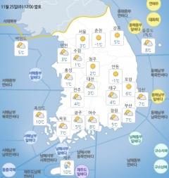 전국 구름 많고 큰 일교차…밤부터 영동 북부 '비'