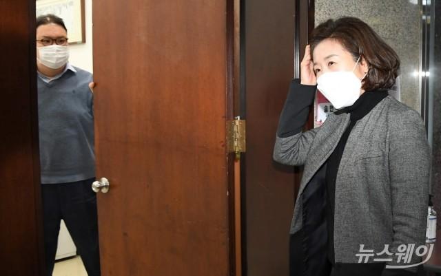 [NW포토]서울시장 출마 선언 앞두고 김종인 비대위원장 찾은 나경원 전 의원