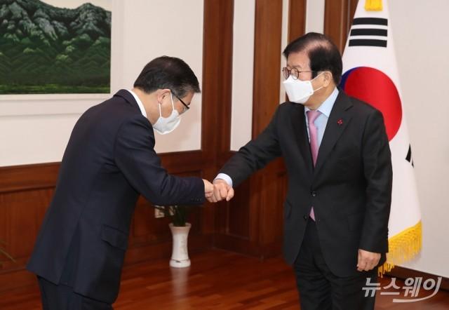 [NW포토]변창흠 국토부 장관, 박병석 국회의장 예방