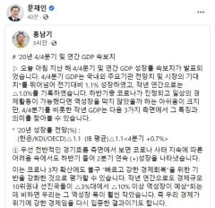 문 대통령, 홍남기 경제성장률 분석SNS 글 공유…'힘 실어주기' 지속
