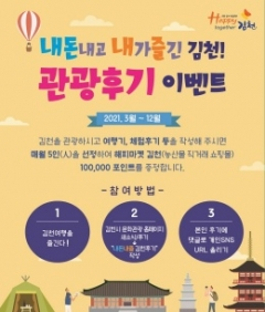 김천시, 관광후기 남기면 농산물쇼핑몰 포인트 증정