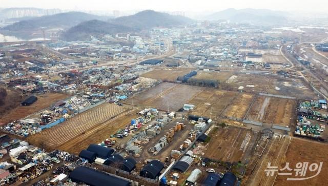 항공 촬영한 LH공사 직원 투기 의혹 경기 시흥 과림동 토지