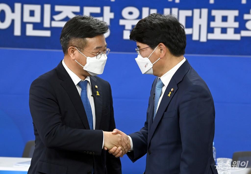 [NW포토]더불어민주당 원내대표 후보 윤호중-박완주