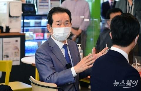 정세균 전 국무총리, '직장·주거 걱정 없는 창업밸리' 현장 방문
