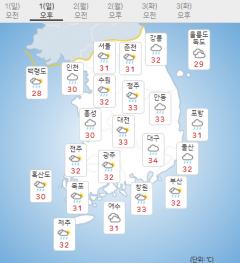 [날씨]전국에 여름비···남부지방 천둥·번개 동반 강한 비