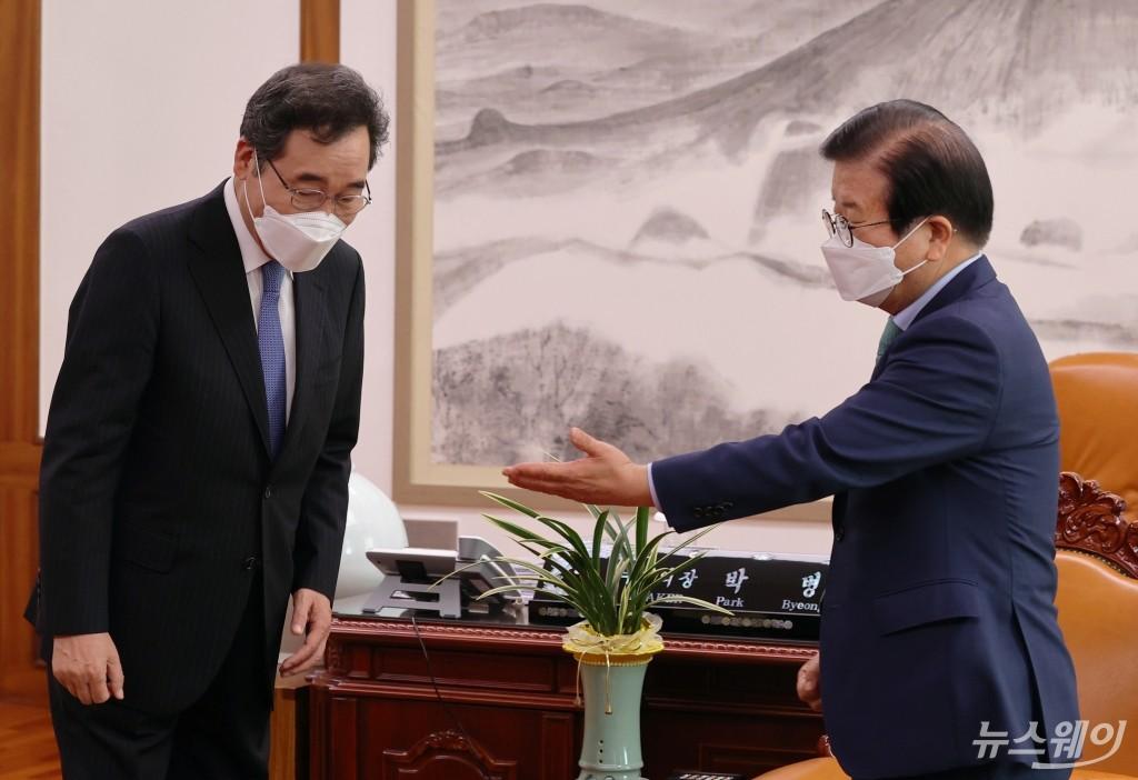 [NW포토]더불어민주당 이낙연 대선 예비후보, 박병석 국회의장 면담