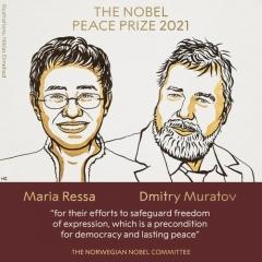 노벨평화상, 필리핀·러시아 반정부 언론인 마리아 레사·드미트리 무라토프