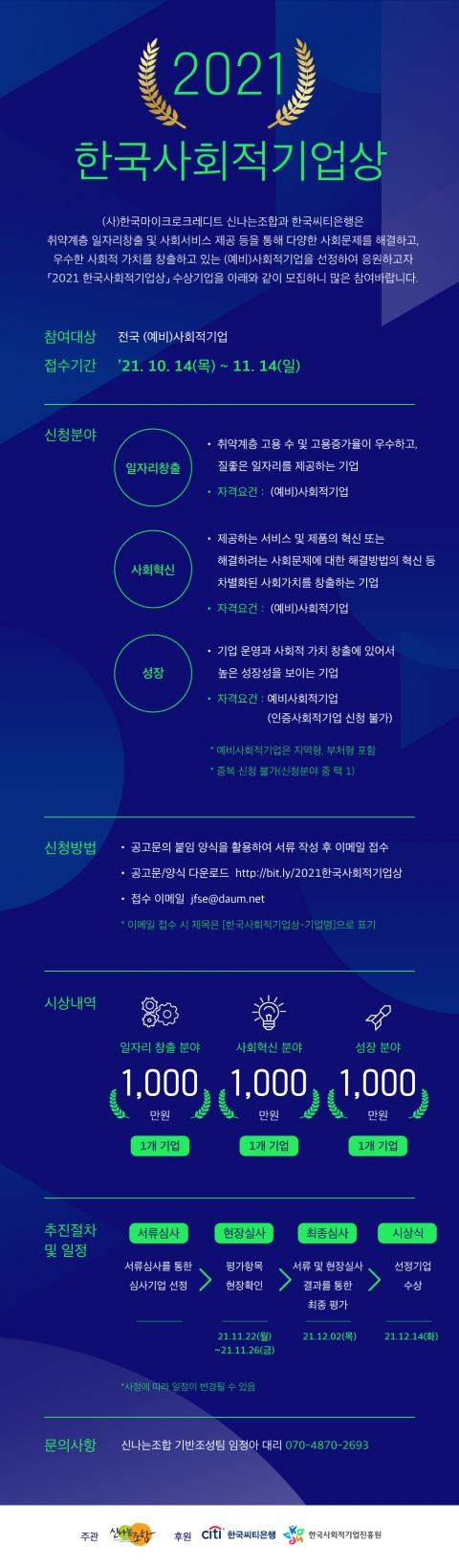 한국씨티은행 '2021 한국사회적기업상' 공모