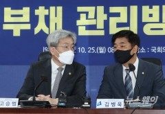 [NW포토]대화하는 김병욱 정무위 간사와 고승범 금융위원장